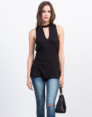 Front View of Sleeveless Choker Tank