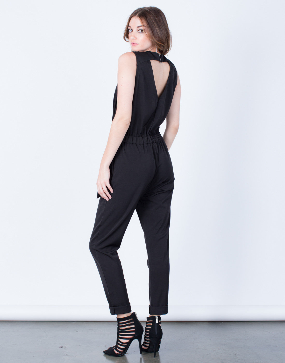 Back View of Sleeveless Crossover Utility Jumpsuit