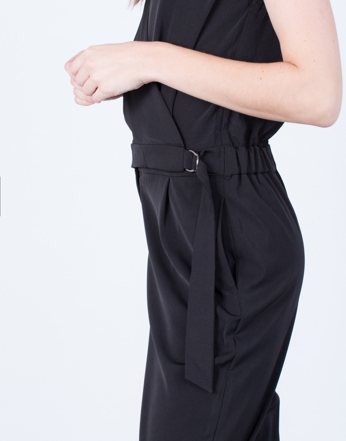 Detail of Sleeveless Crossover Utility Jumpsuit