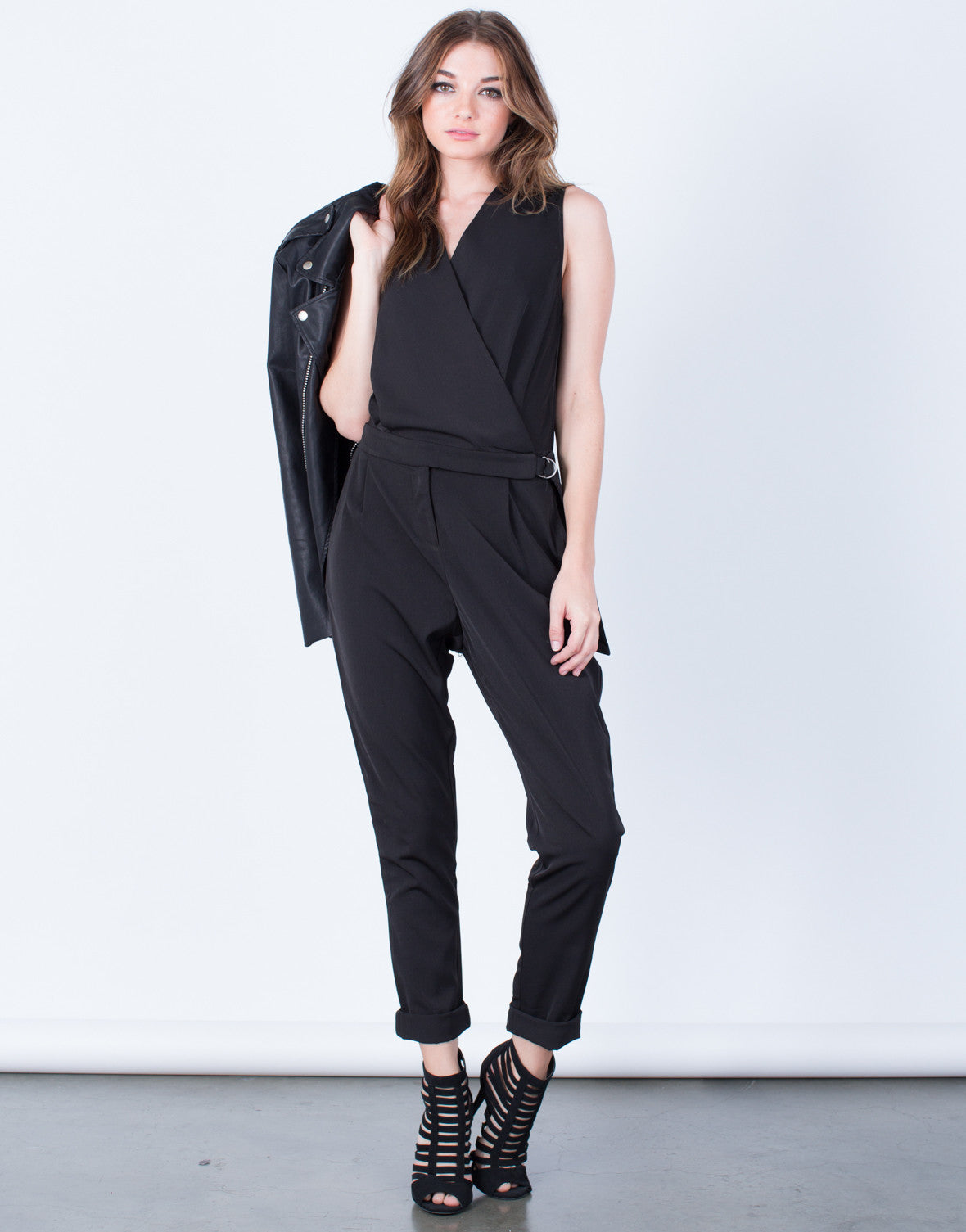 Front View of Sleeveless Crossover Utility Jumpsuit