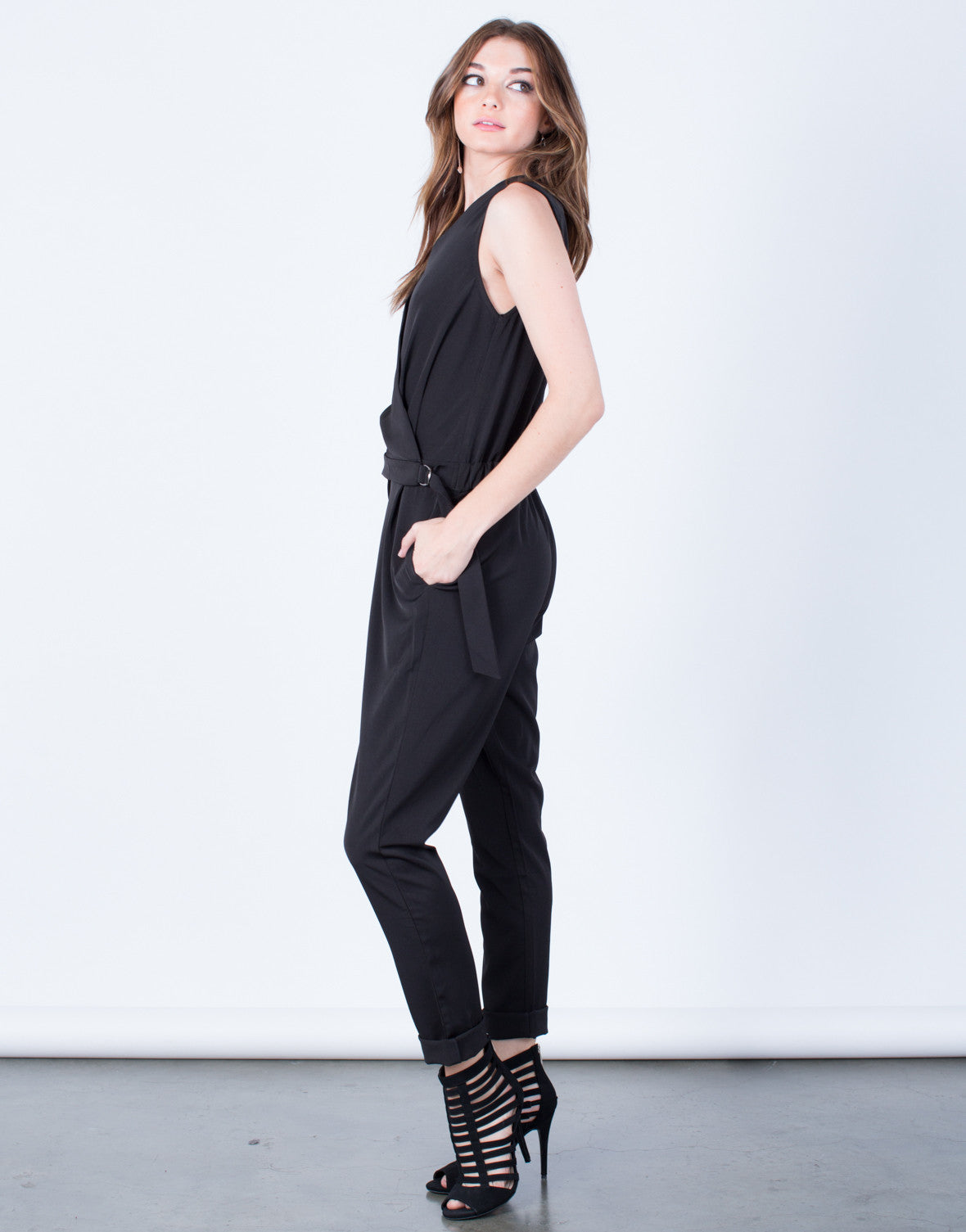 Side View of Sleeveless Crossover Utility Jumpsuit