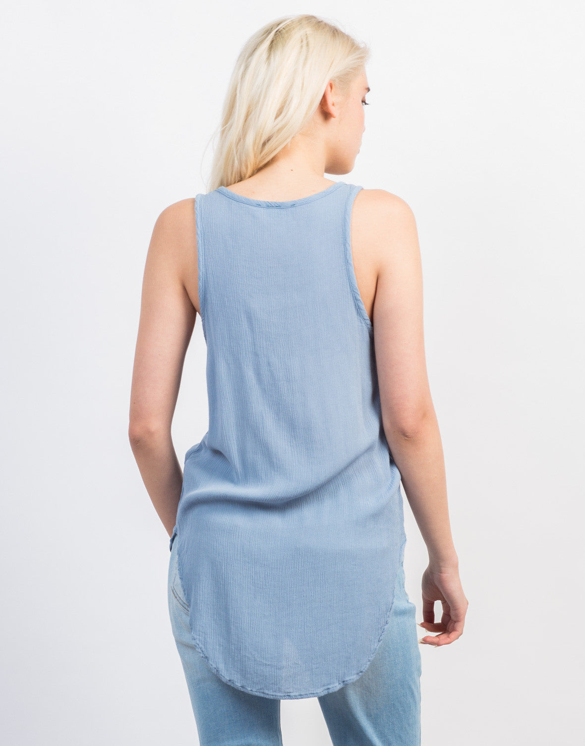 Back View of Sleeveless Gauze Lace-Up Top