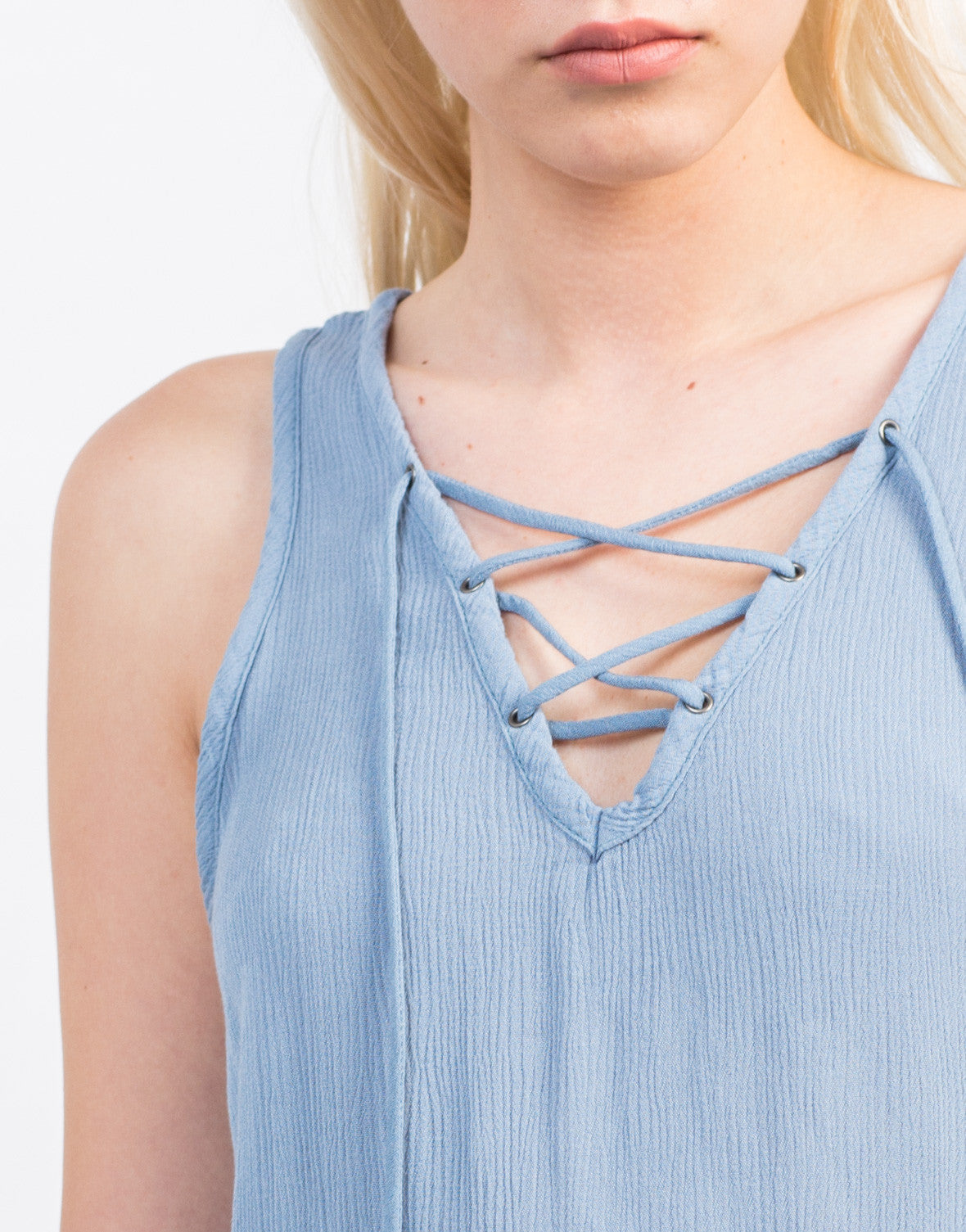 Detail of Sleeveless Gauze Lace-Up Top