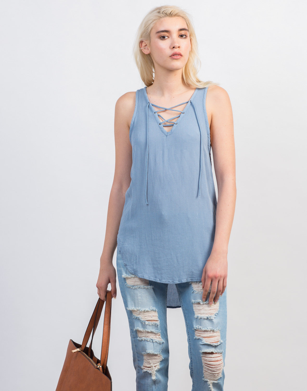 Front View of Sleeveless Gauze Lace-Up Top