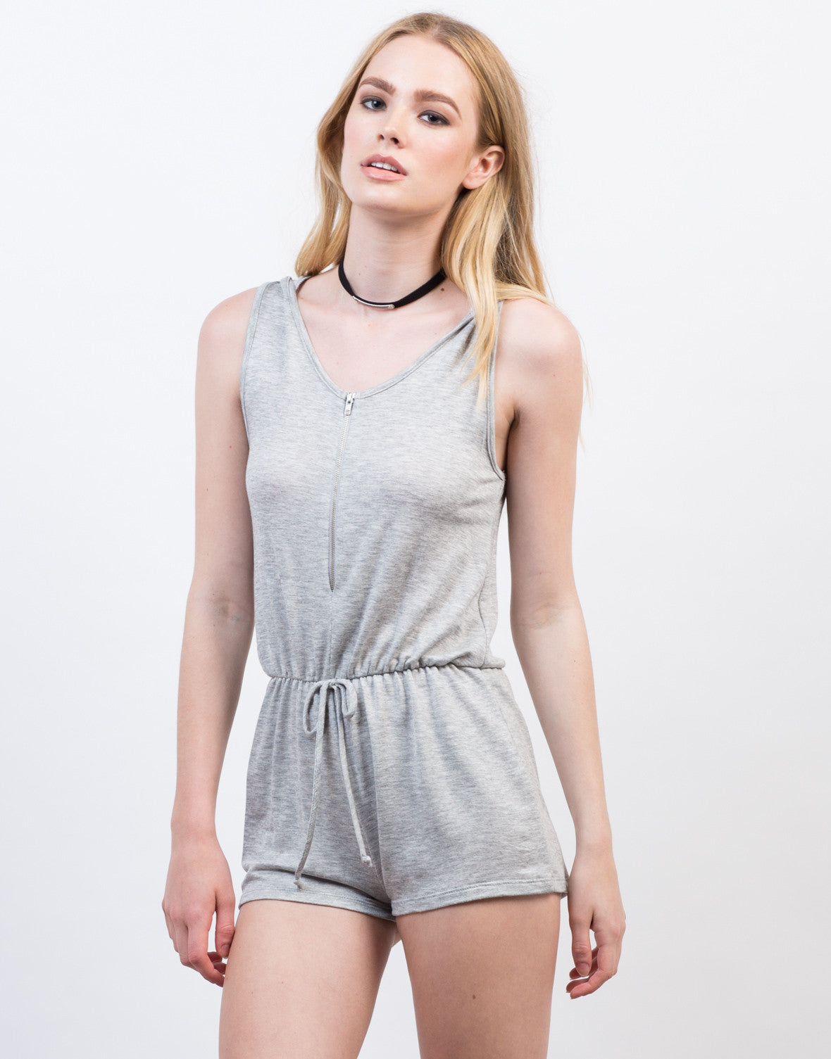 Front View of Sleeveless Hooded Romper