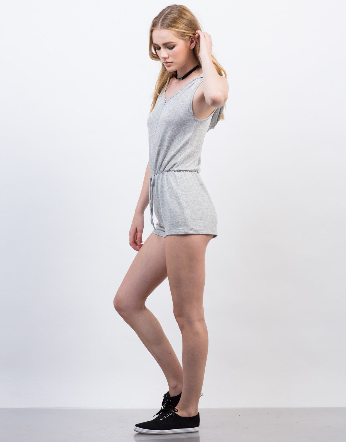 Side View of Sleeveless Hooded Romper