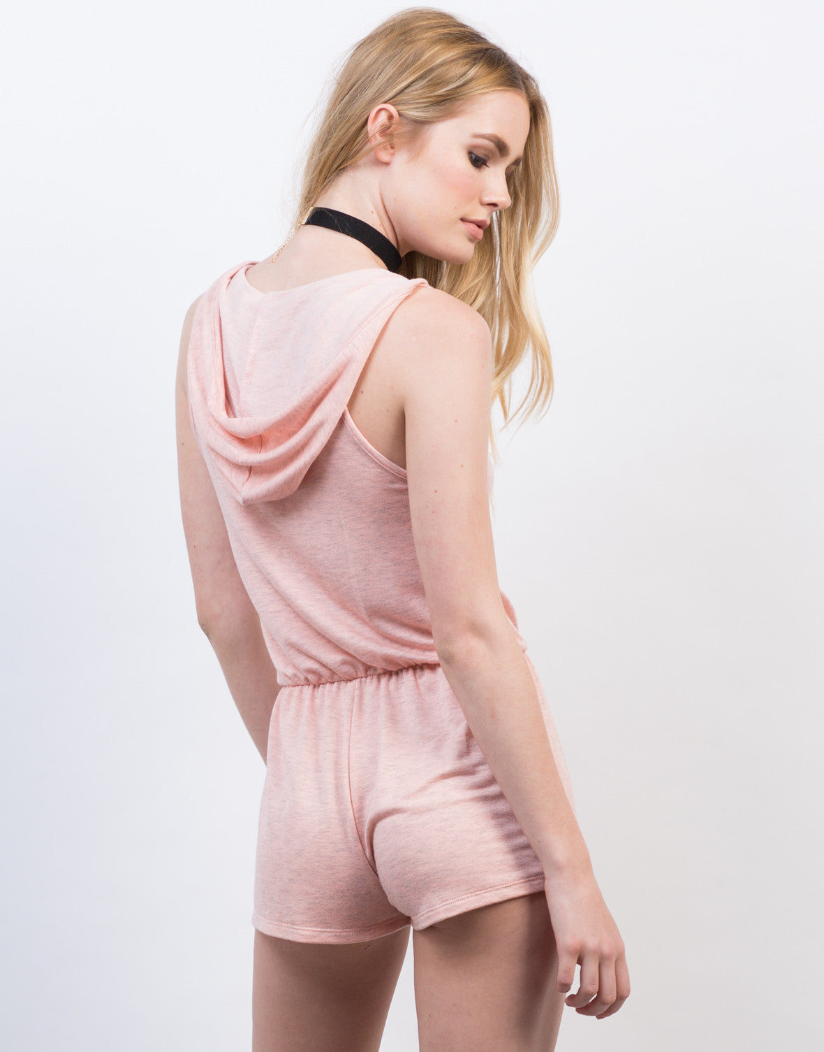 Back View of Sleeveless Hooded Romper