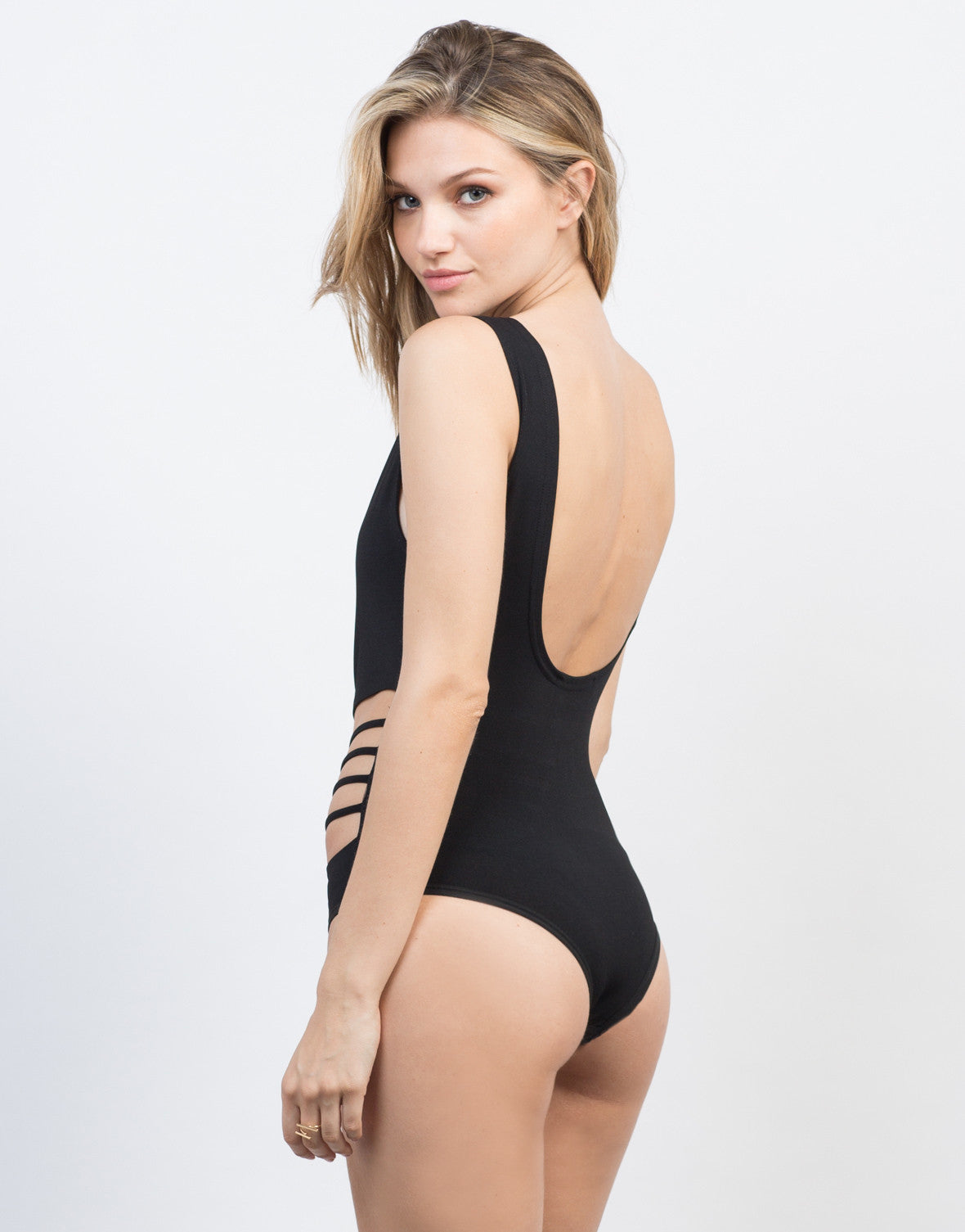 Back View of Sleeveless Ladder Cut Bodysuit