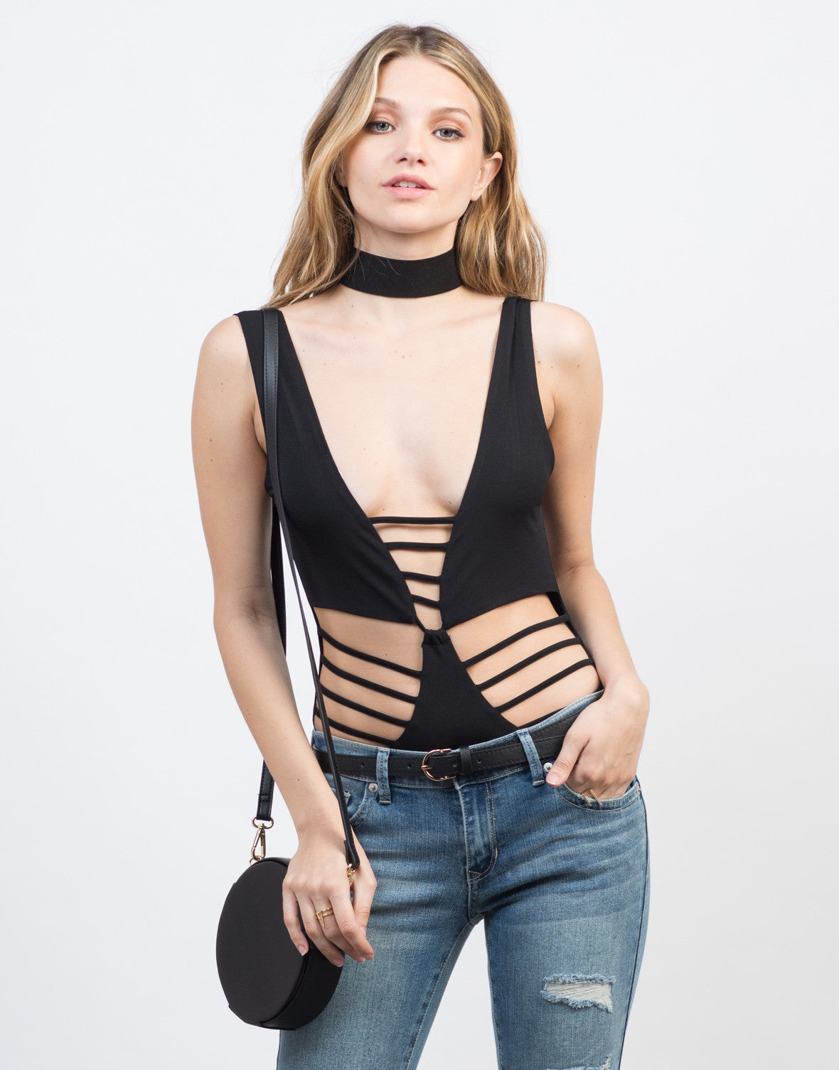 Front View of Sleeveless Ladder Cut Bodysuit