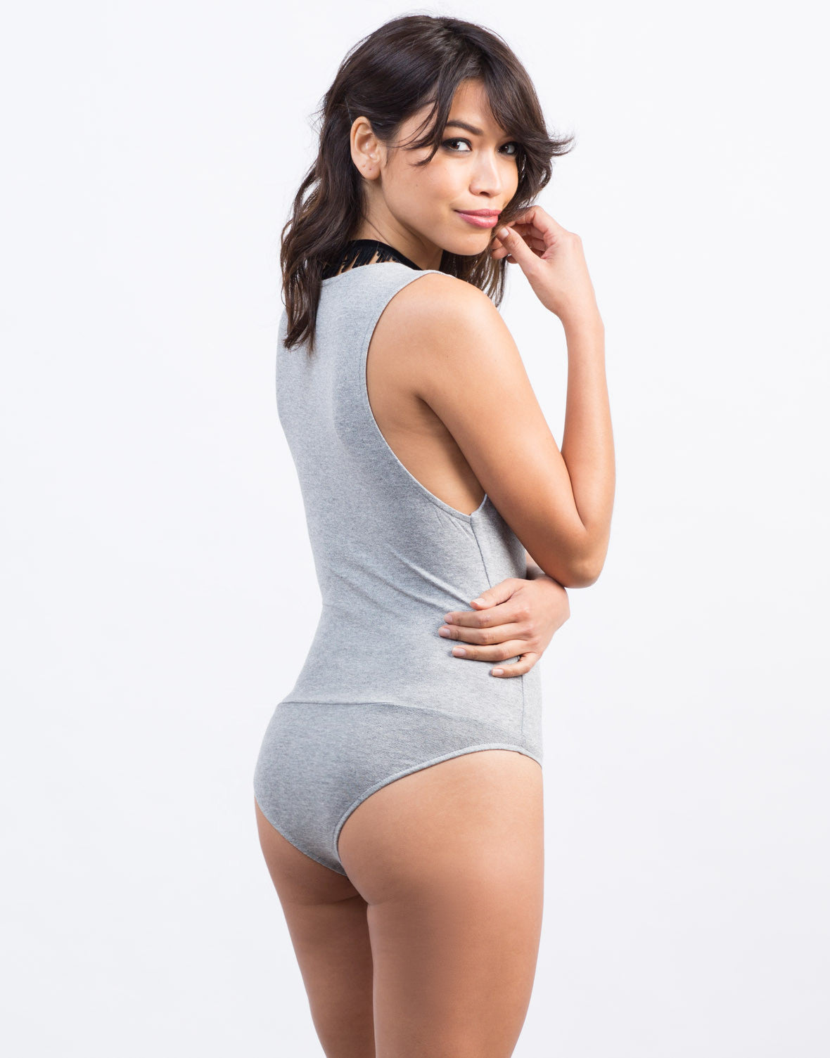 Back View of Sleeveless Plunging Bodysuit