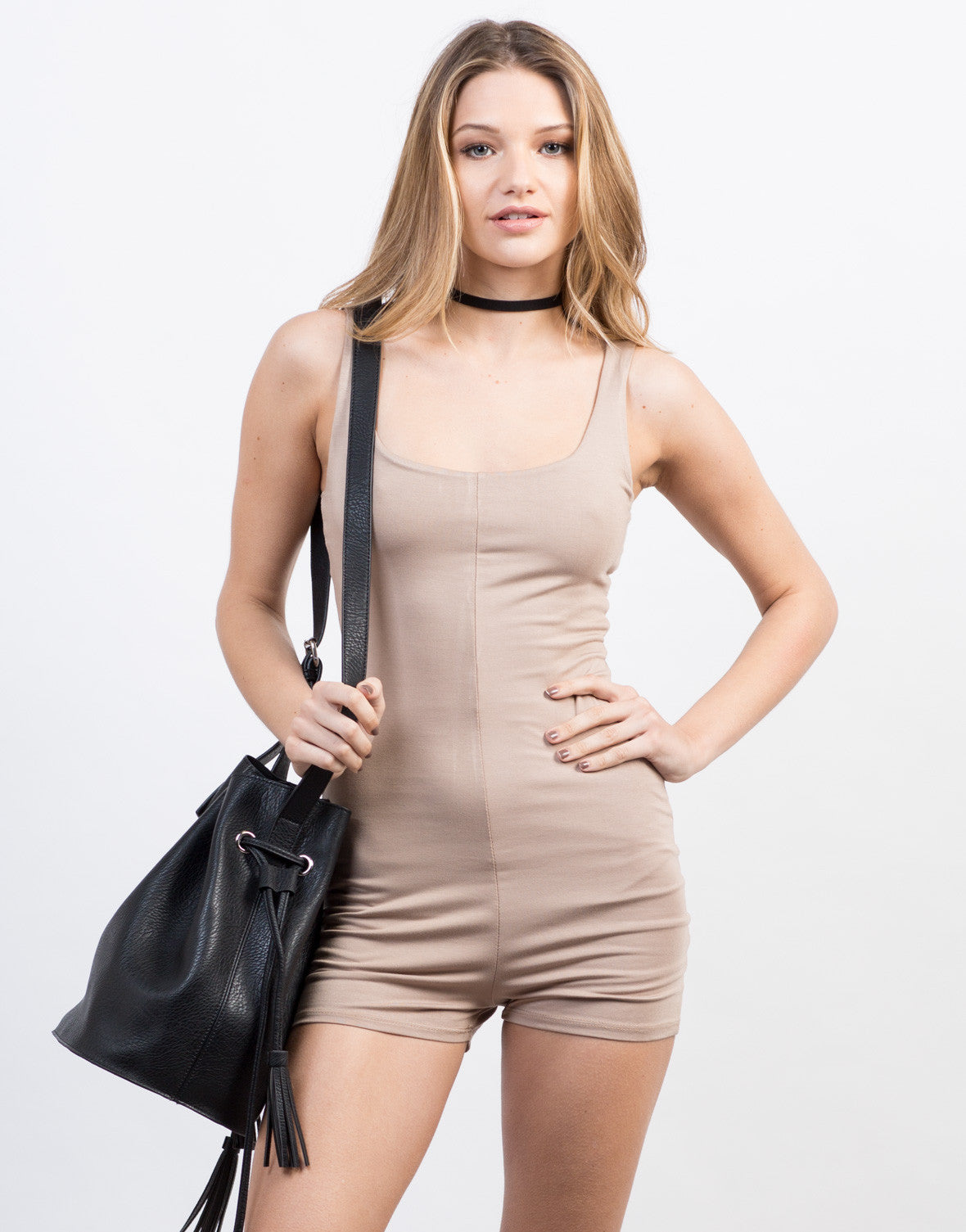 Front View of Sleeveless Relaxed Romper