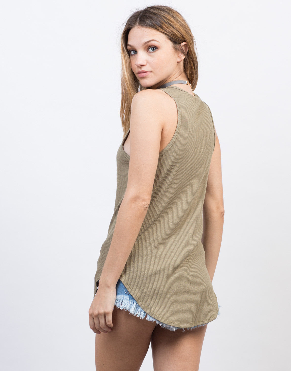 Back View of Sleeveless Rib Knit Lace-Up Top