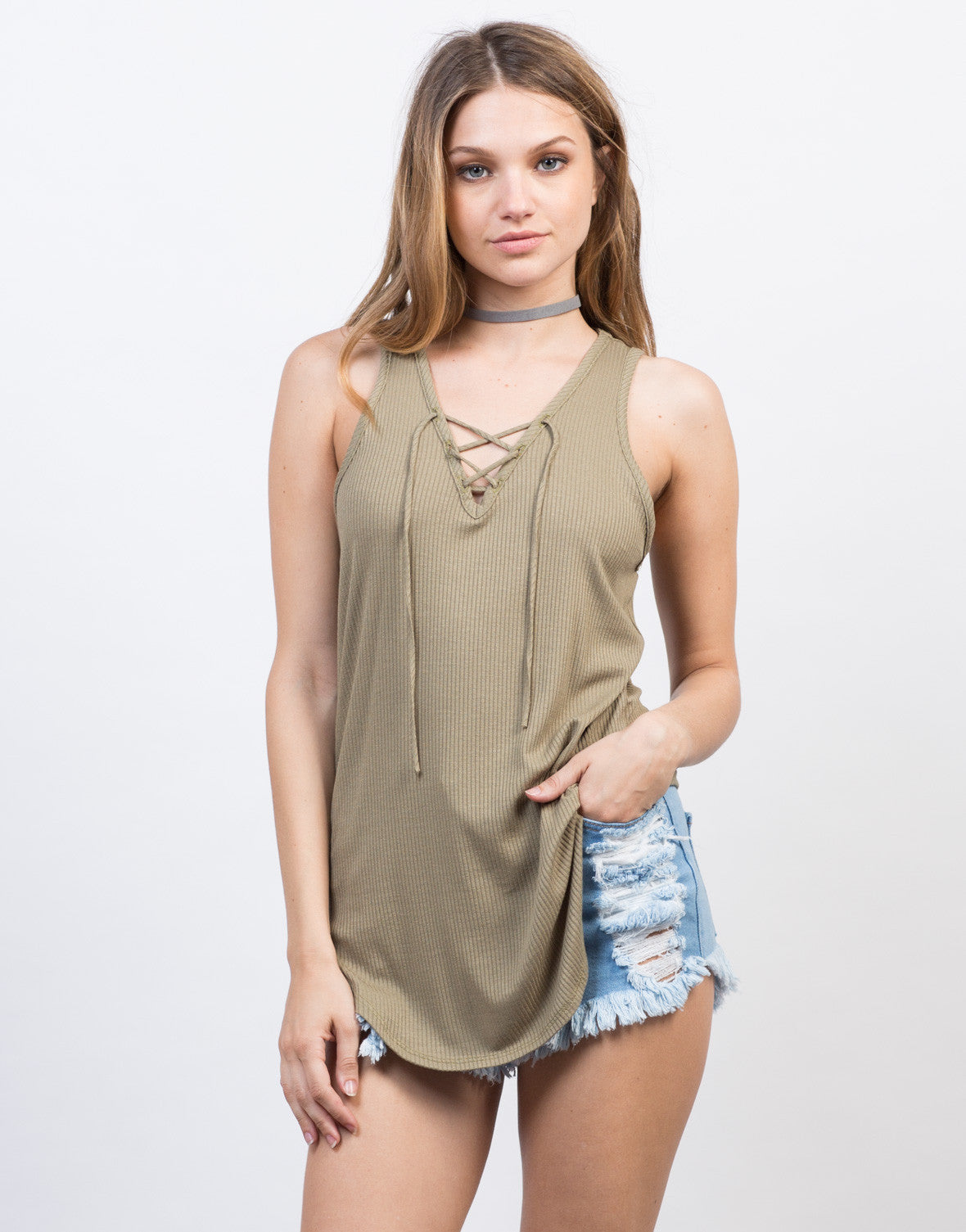 Front View of Sleeveless Rib Knit Lace-Up Top