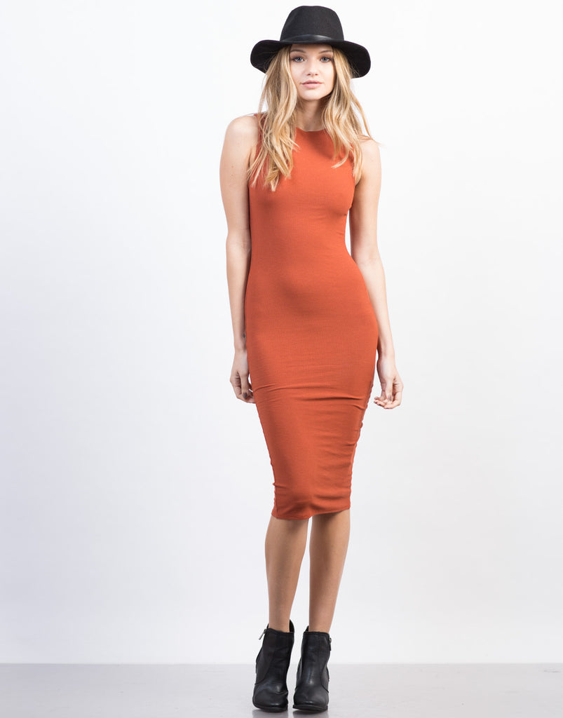 Sleeveless Ribbed Midi Dress - 2020AVE