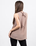 Back View of Sleeveless Chiffon Blouse