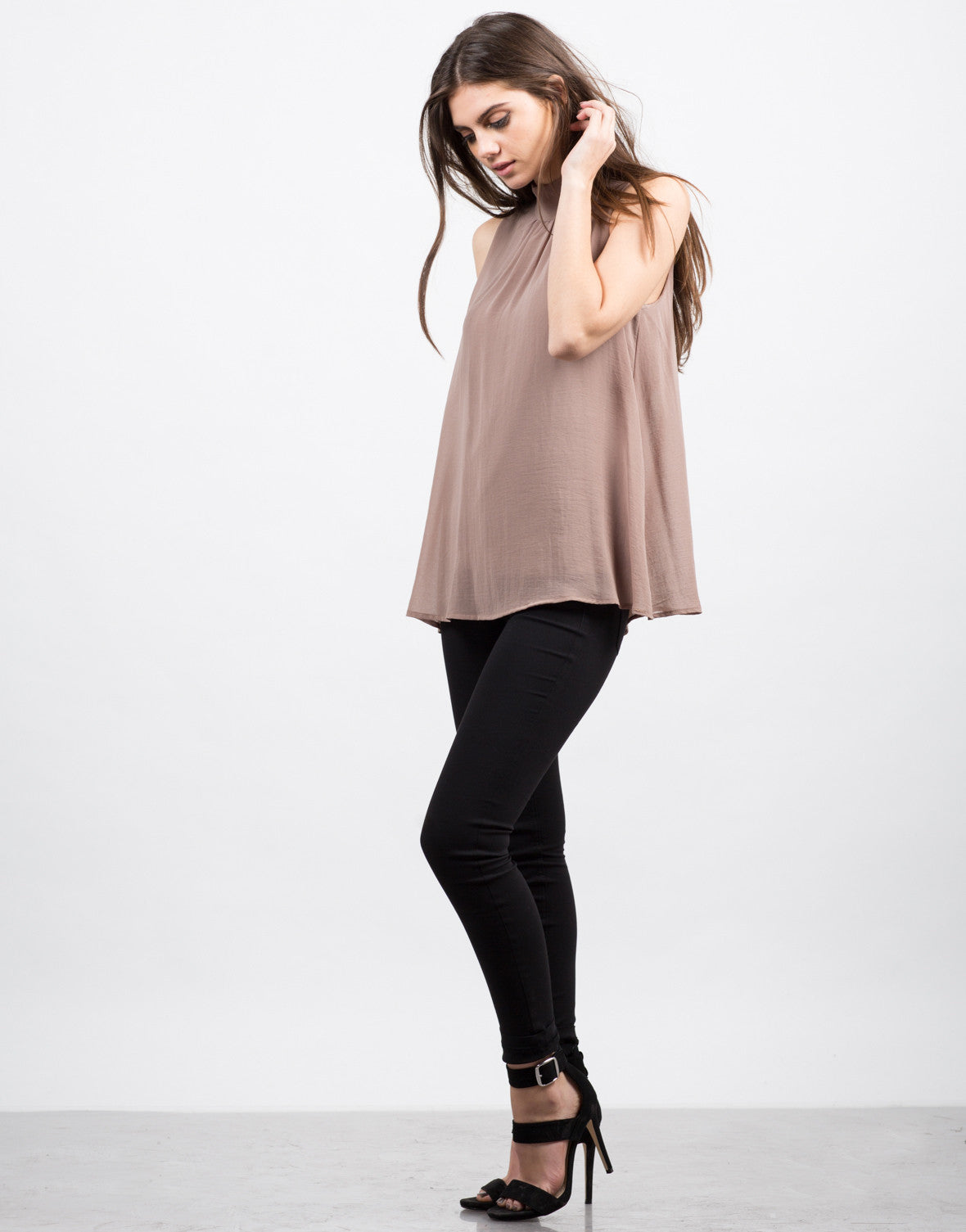 Side View of Sleeveless Chiffon Blouse