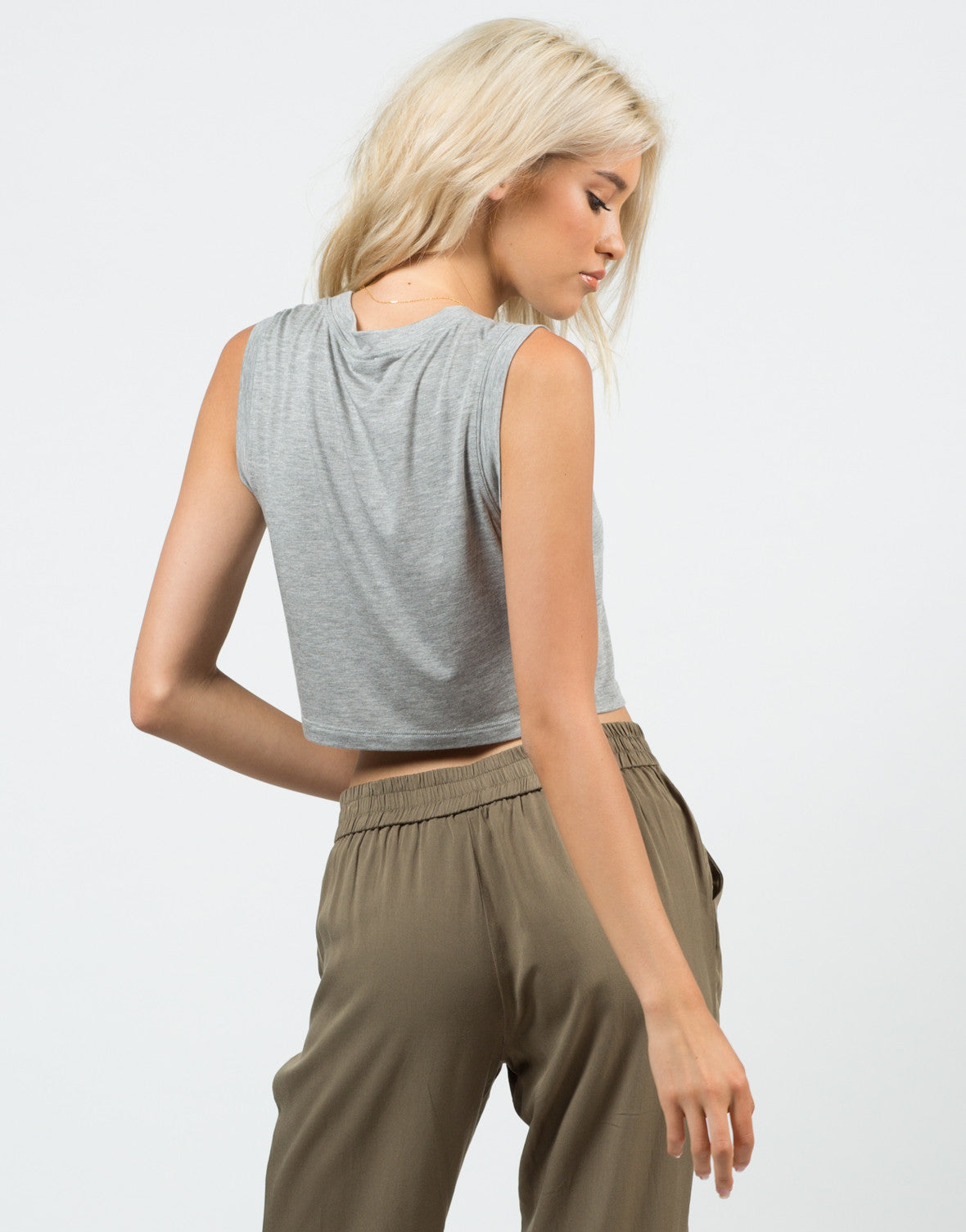 Back View of Sleeveless Cropped Top
