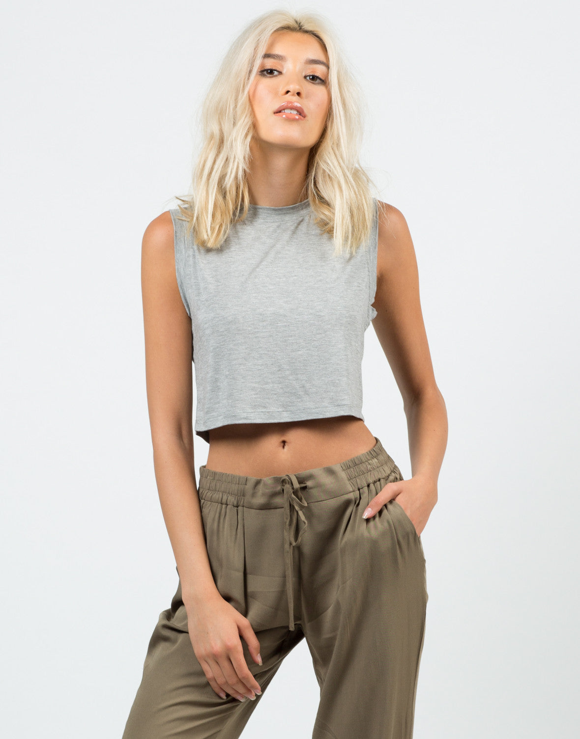 Front View of Sleeveless Cropped Top