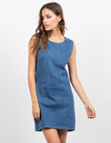 Front View of Sleeveless Denim Dress