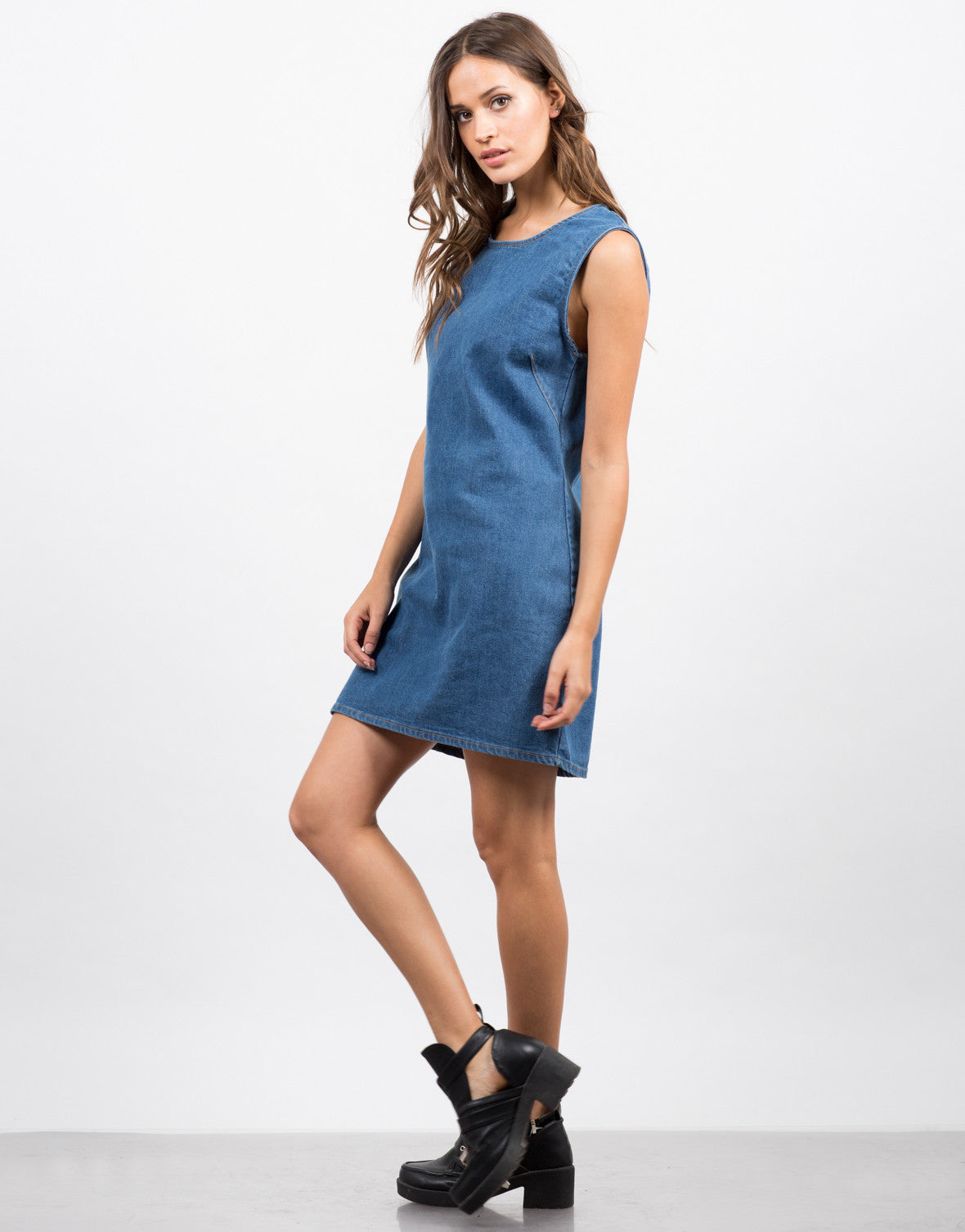 Side View of Sleeveless Denim Dress
