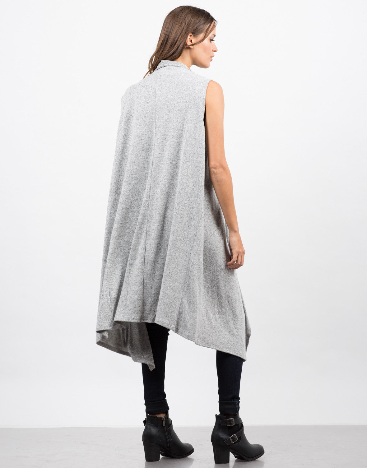 Back View of Sleeveless Drapey Open Cardigan