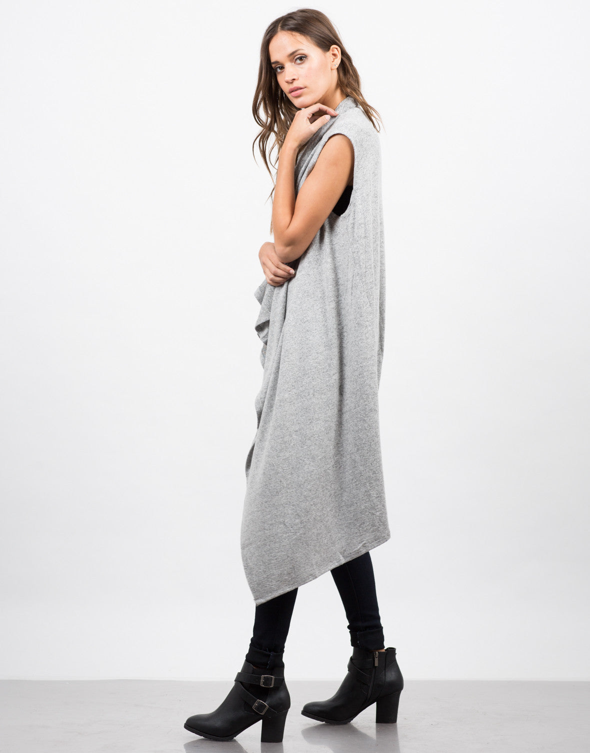 Side View of Sleeveless Drapey Open Cardigan
