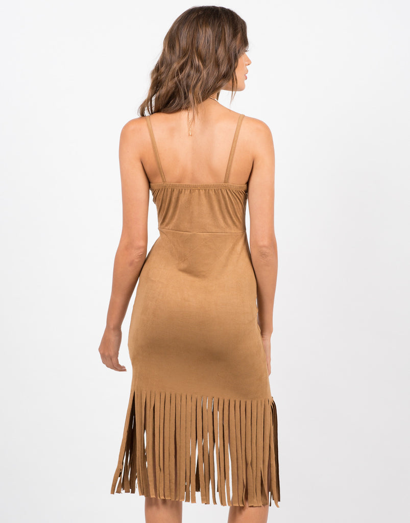 Sleeveless Fringed Suede Dress - 2020AVE
