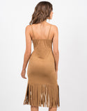 Back View of Sleeveless Fringed Suede Dress