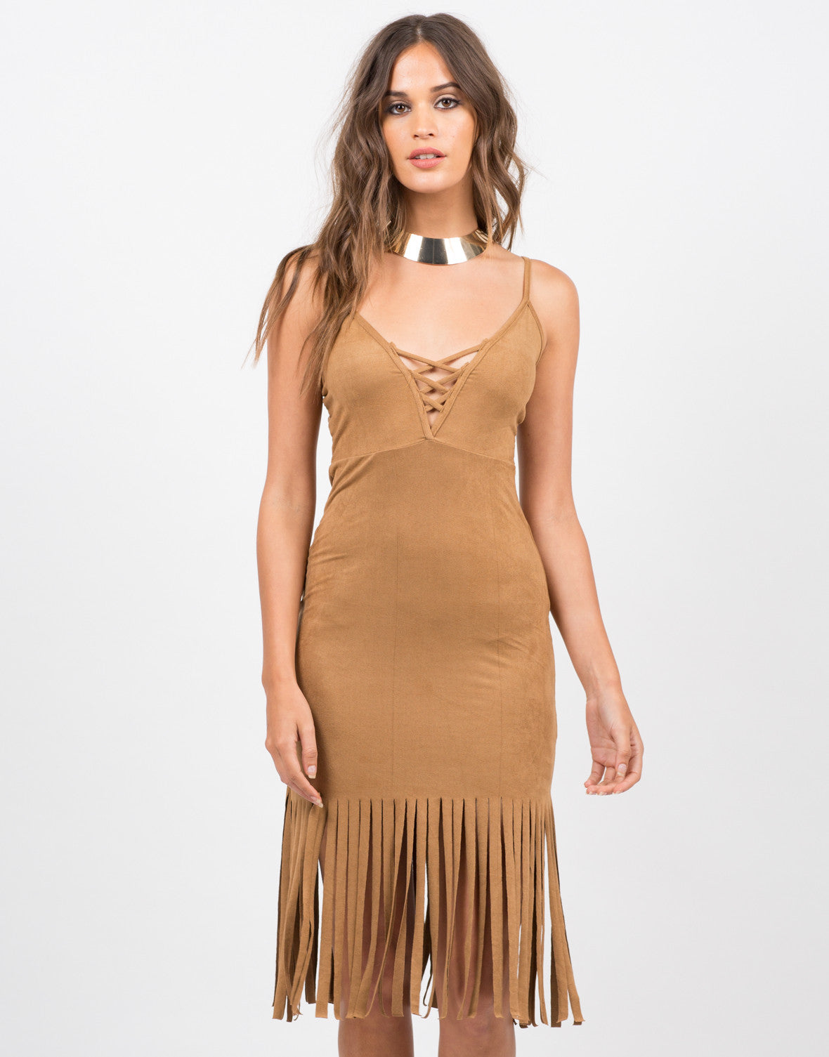 Front View of Sleeveless Fringed Suede Dress