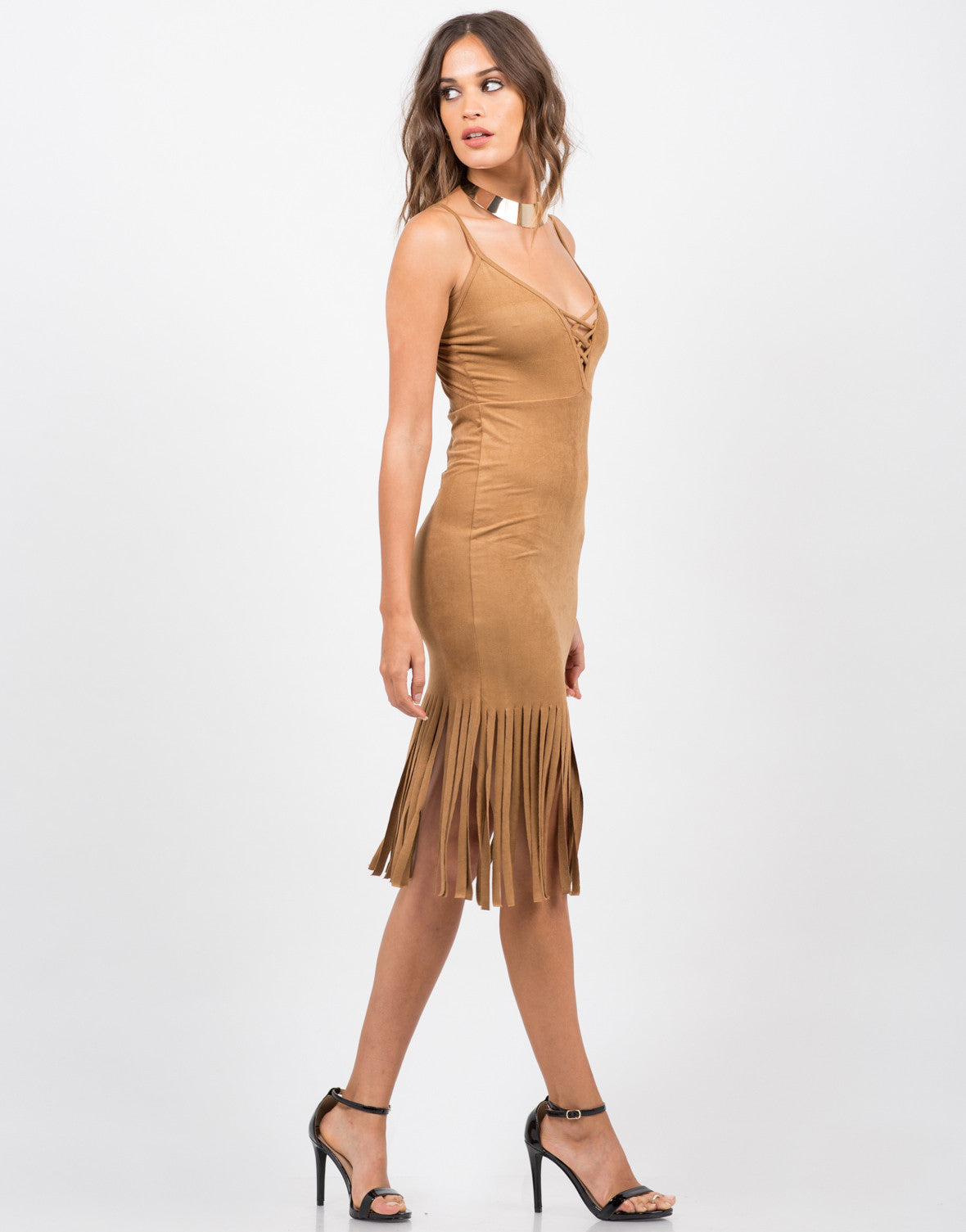Side View of Sleeveless Fringed Suede Dress