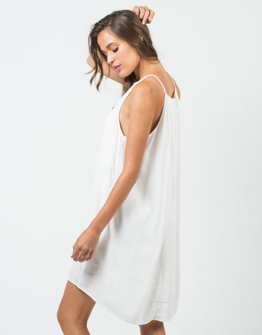 Back View of Sleeveless Halter Flowy Dress