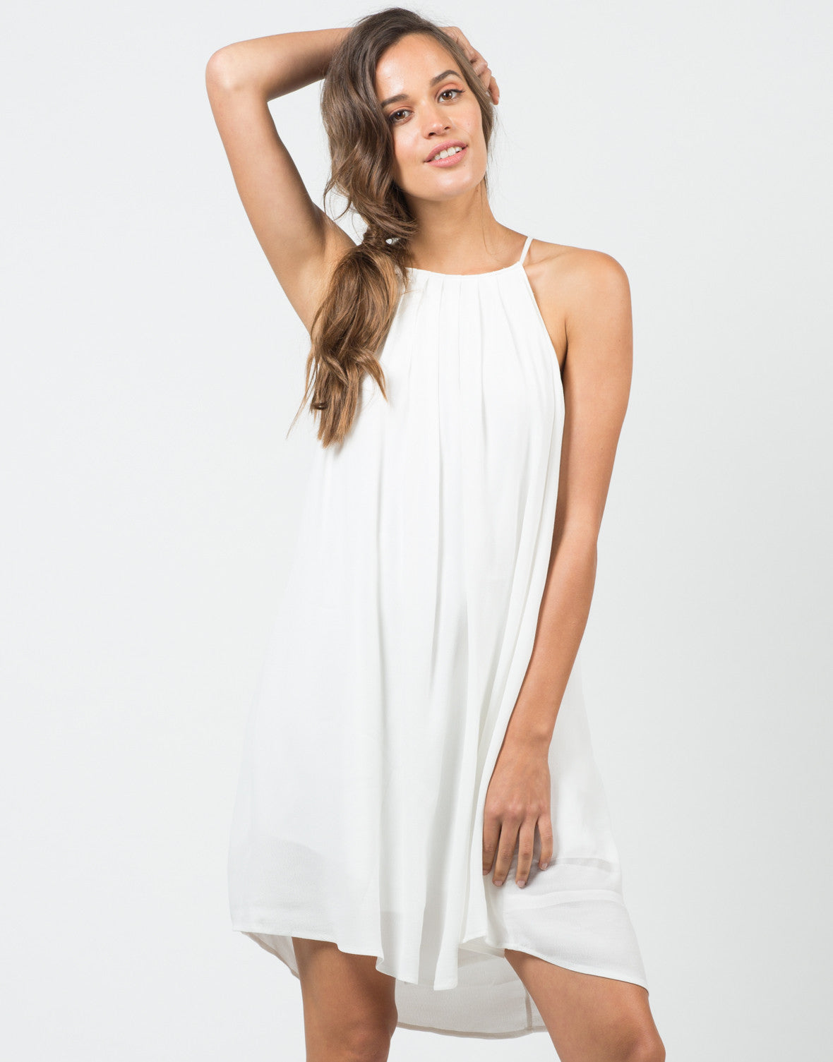 Front View of Sleeveless Halter Flowy Dress