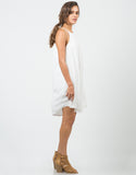 Side View of Sleeveless Halter Flowy Dress