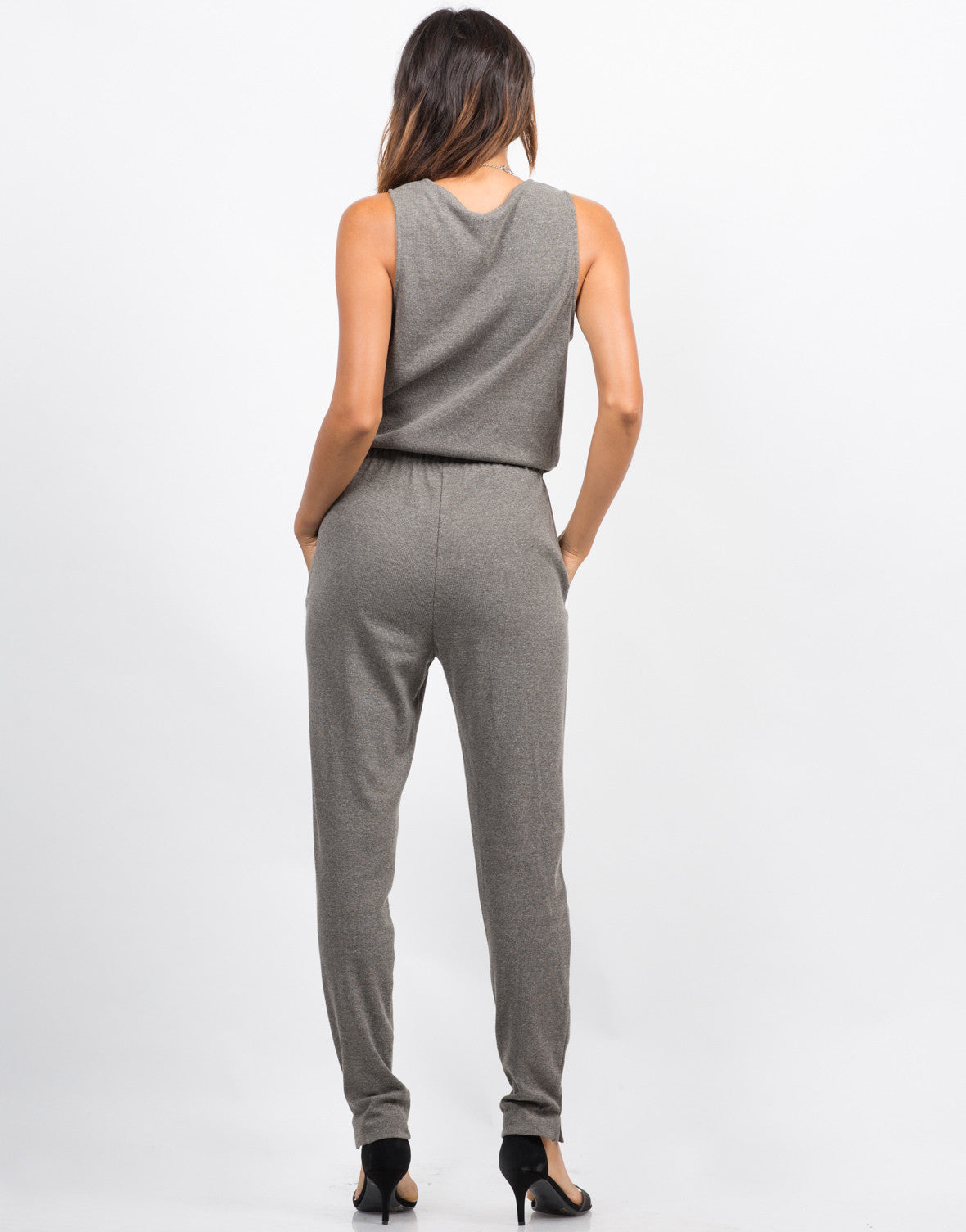 Back View of Sleeveless Ribbed Jumpsuit