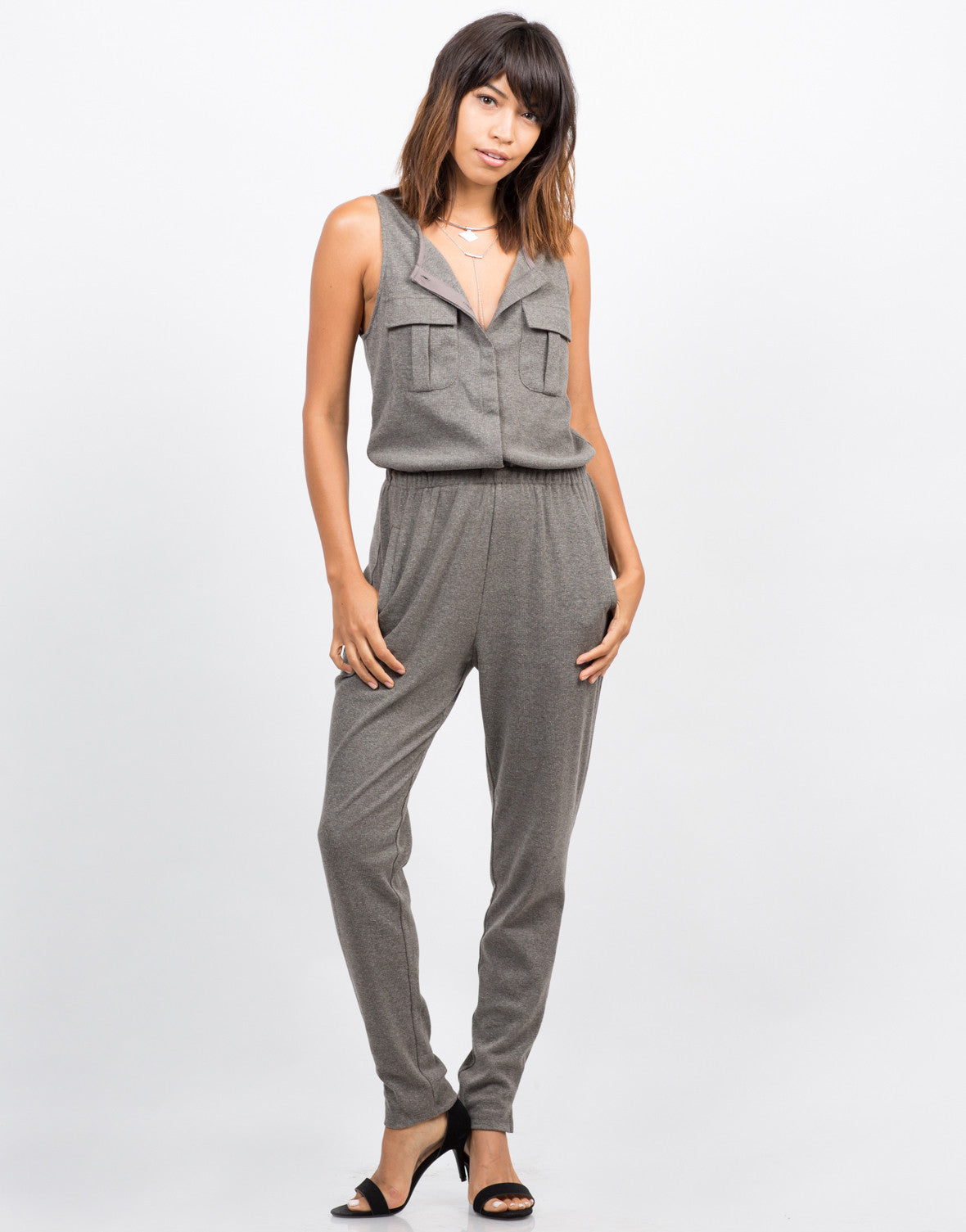 Front View of Sleeveless Ribbed Jumpsuit