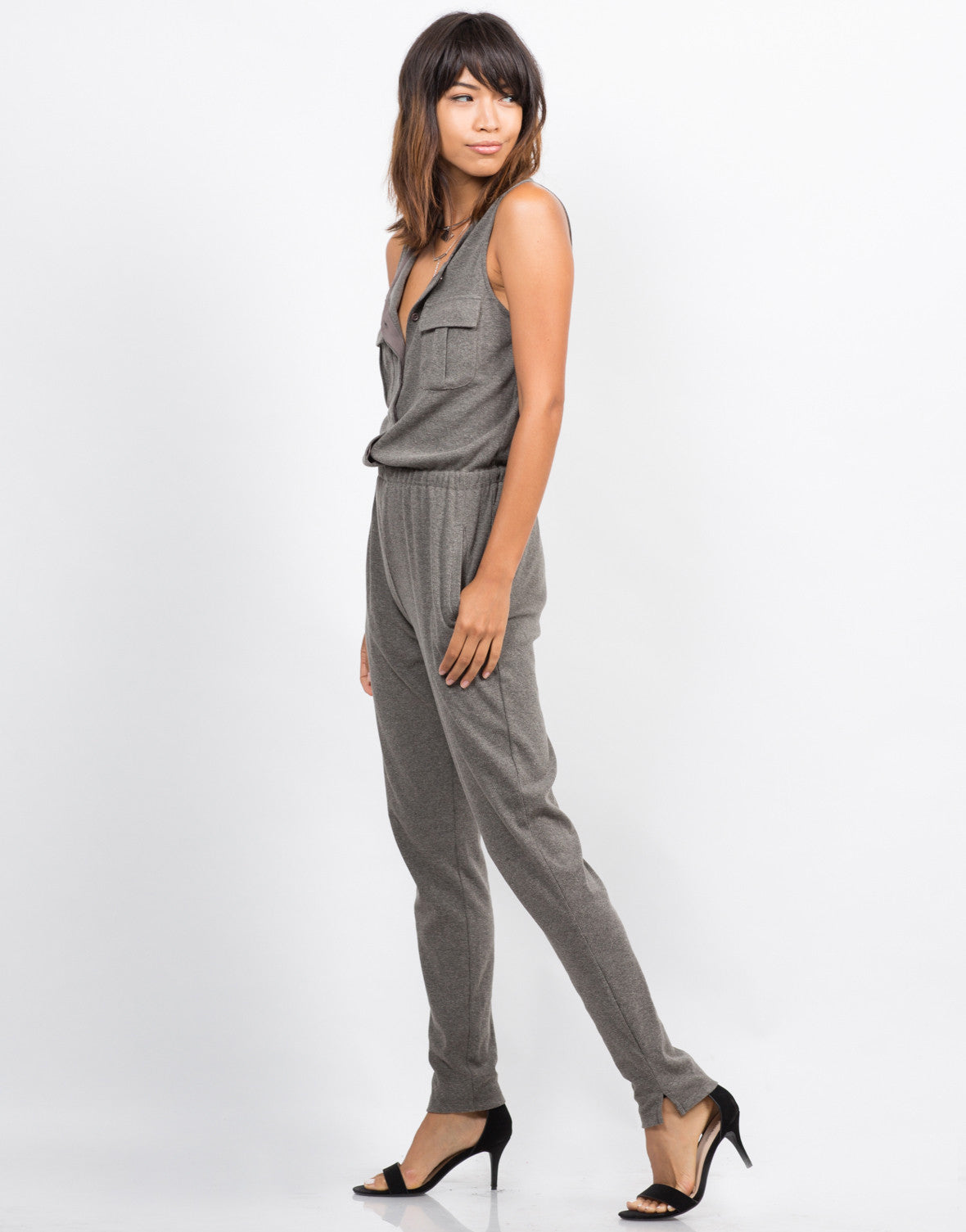Side View of Sleeveless Ribbed Jumpsuit