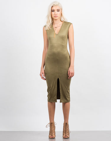 Front View of Sleeveless Suede Midi Dress