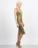 Side View of Sleeveless Suede Midi Dress