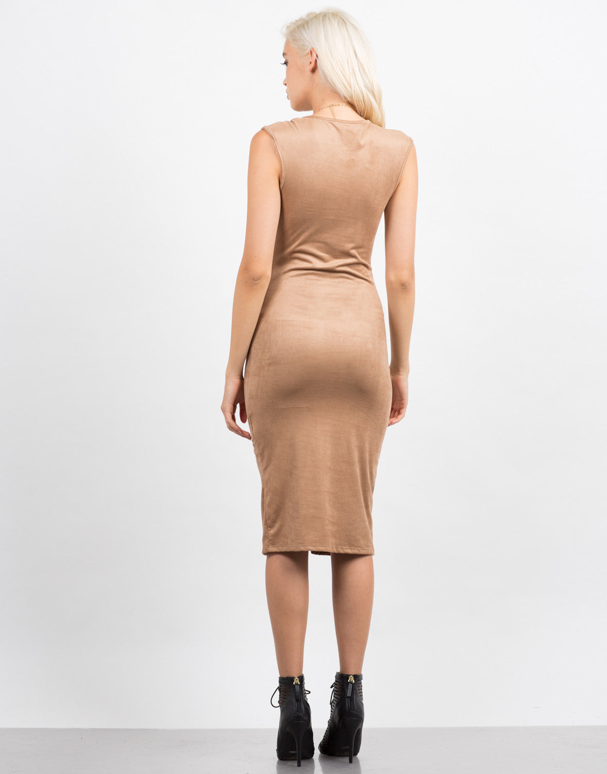 Back View of Sleeveless Suede Midi Dress