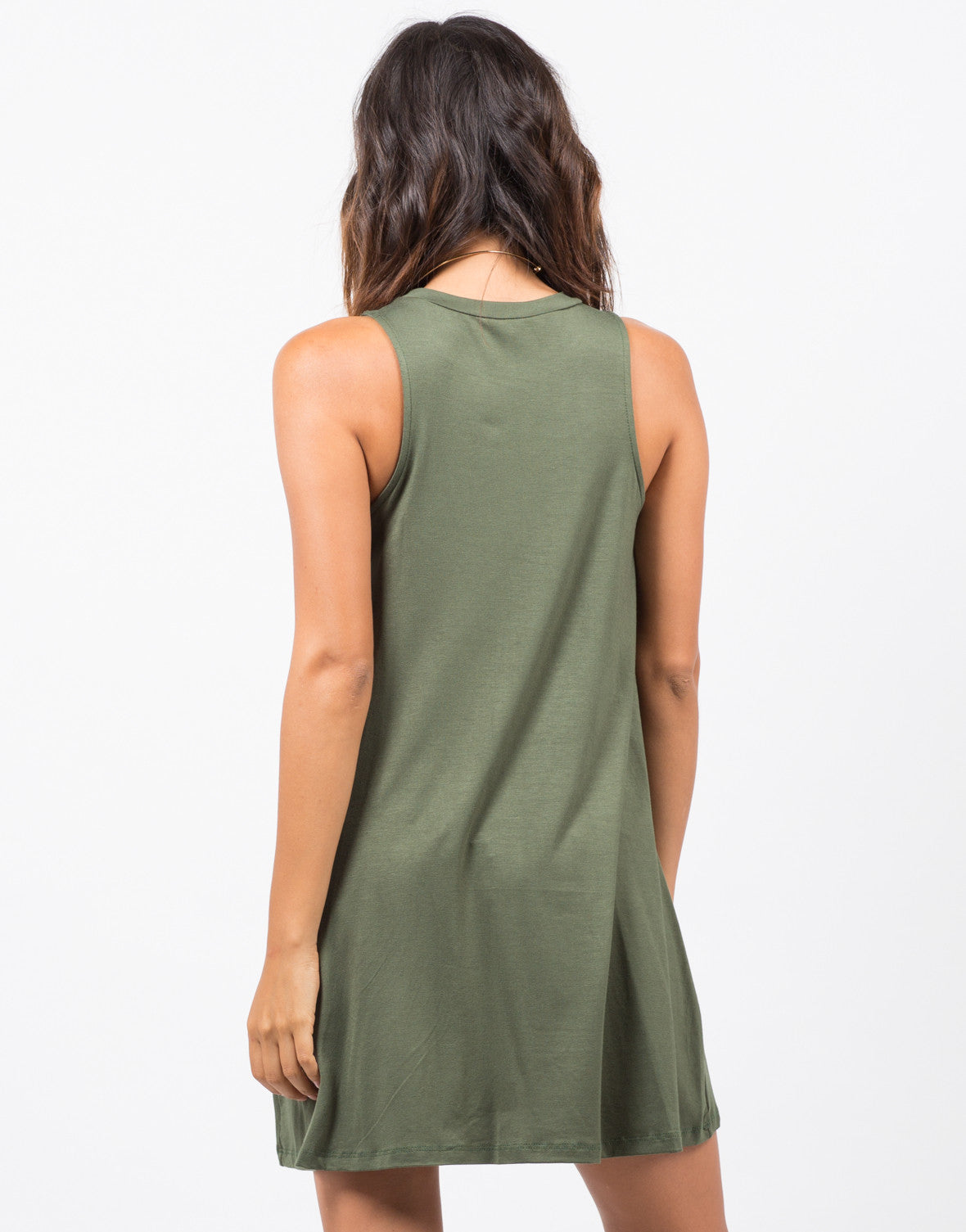 Back View of Sleeveless Swing Dress