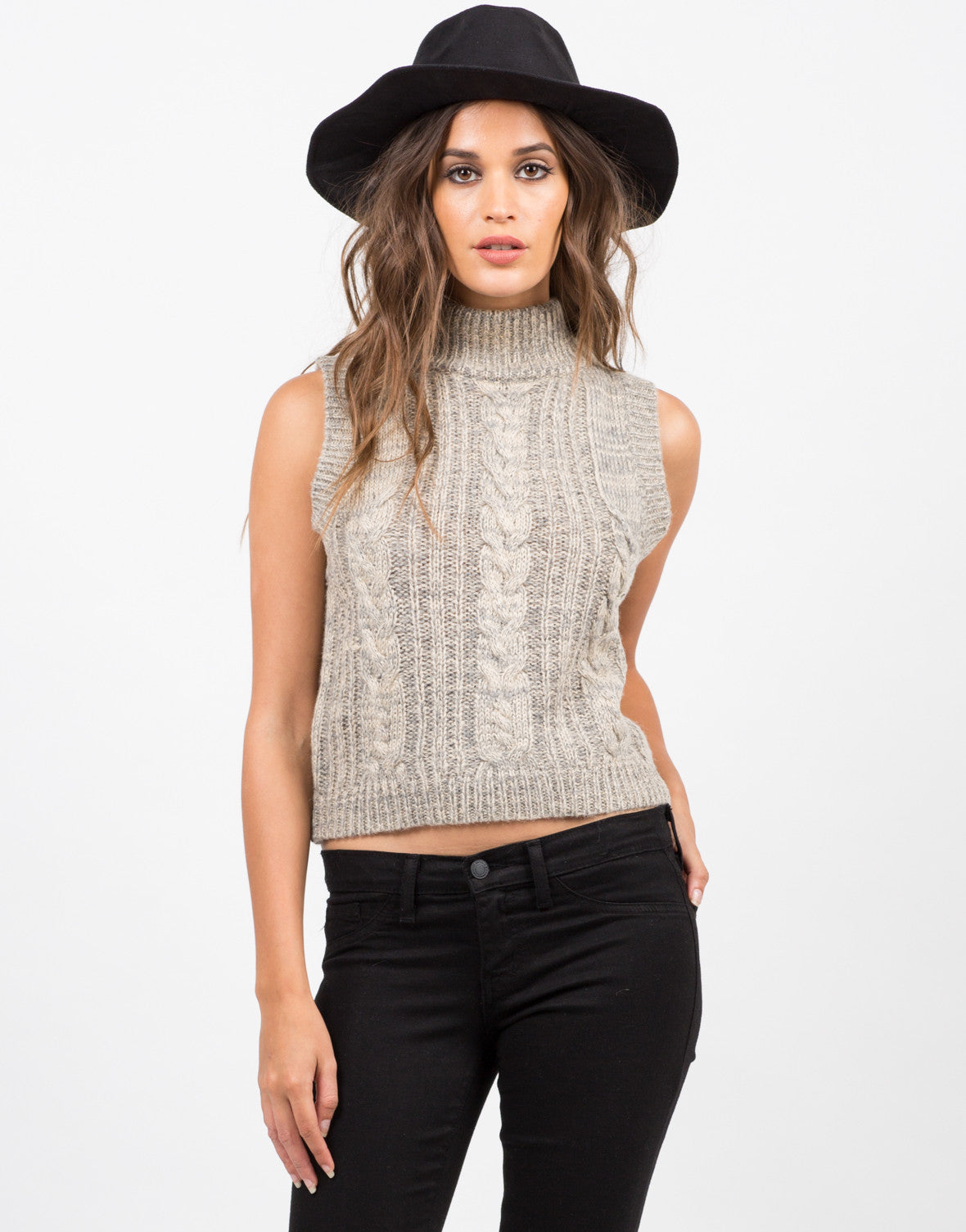Front View of Sleeveless Turtleneck Sweater