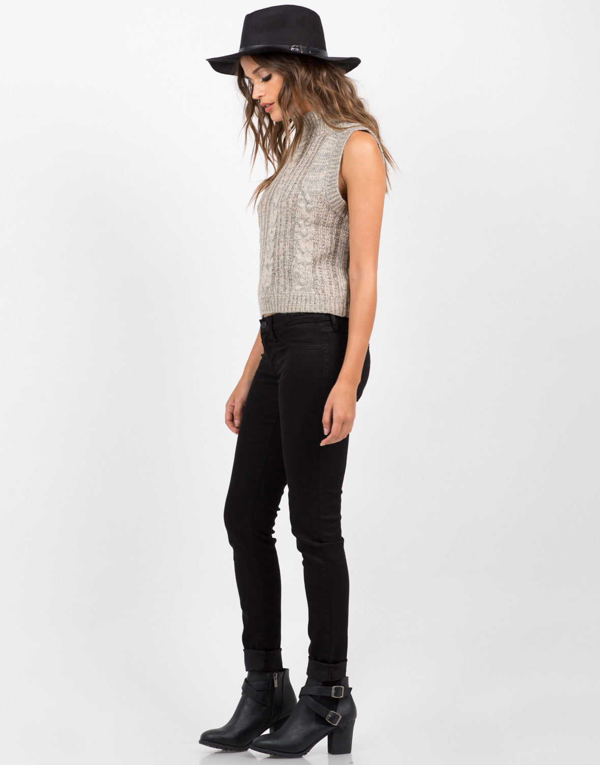 Side View of Sleeveless Turtleneck Sweater