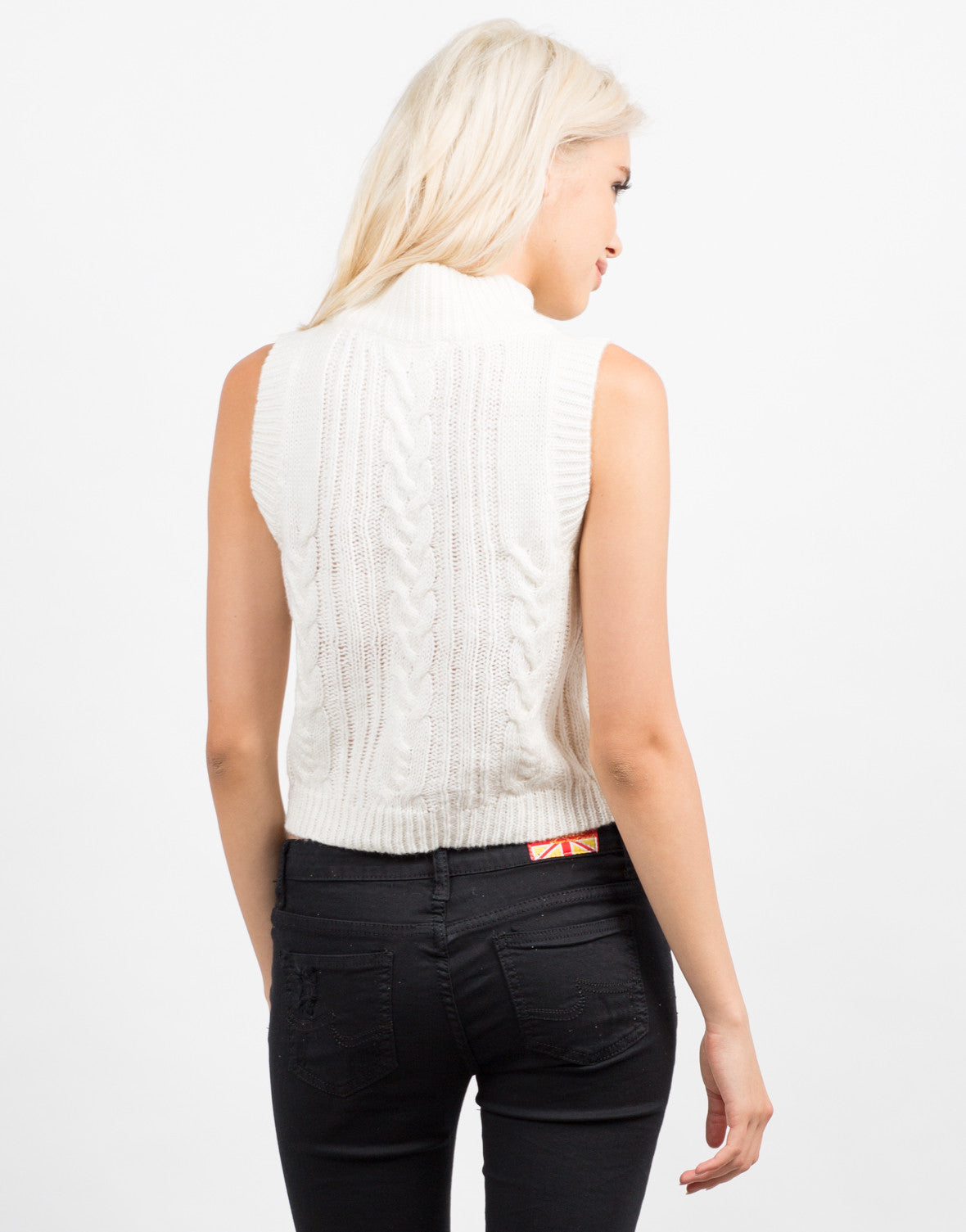 Back View of Sleeveless Turtleneck Sweater