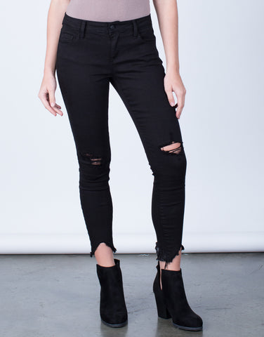 Front View of Slightly Distressed Cropped Jeans