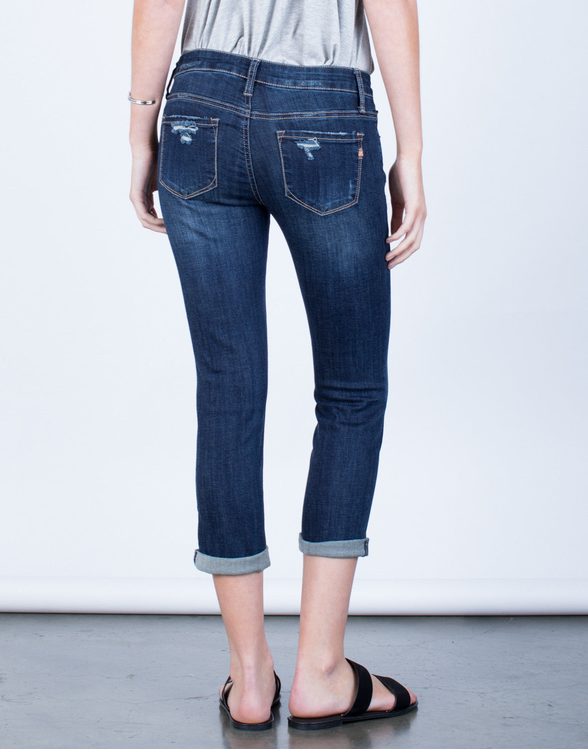 Back View of Slightly Distressed Capri Denim Jeans