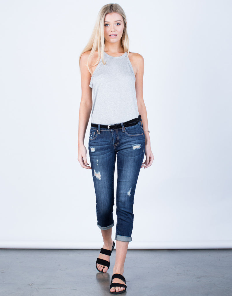Front View of Slightly Distressed Capri Denim Jeans