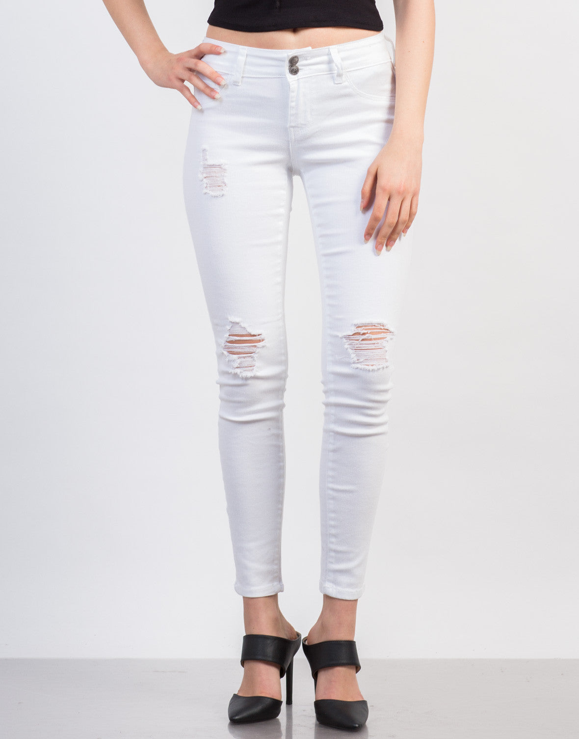 af3070b240b Slightly Distressed White Skinny Jeans - Ripped Knee White Jeans ...