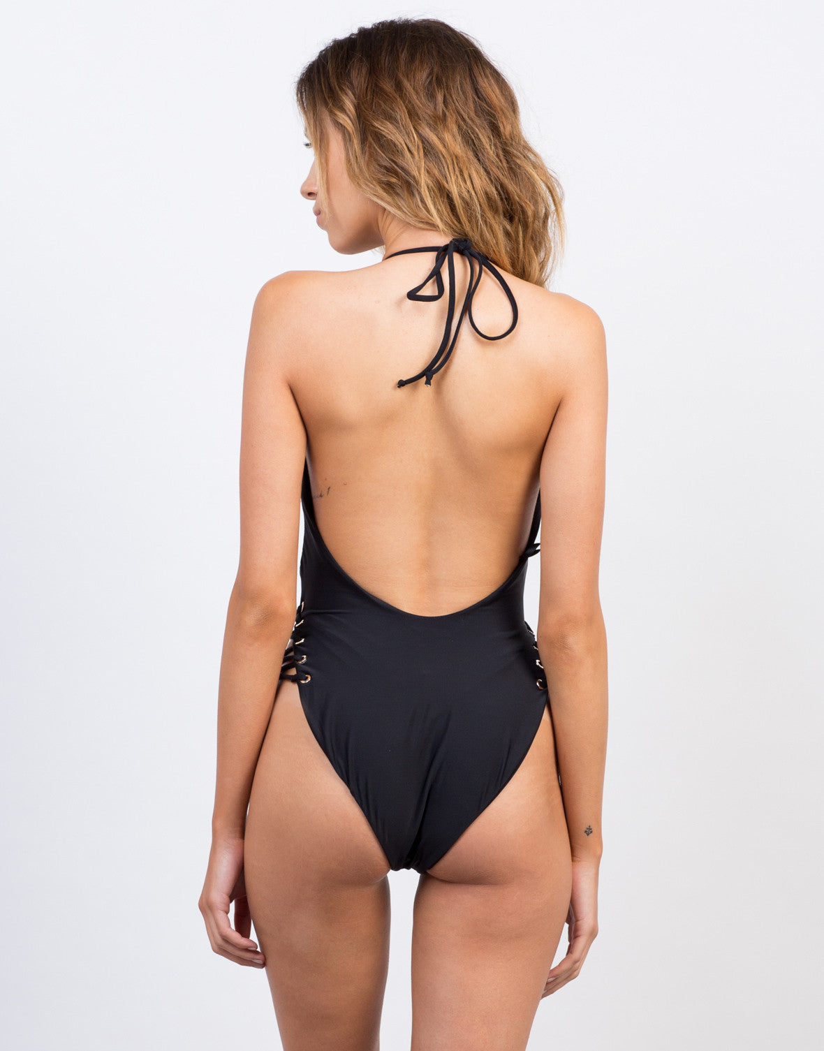 Back View of Slinky Lace-Up Bodysuit