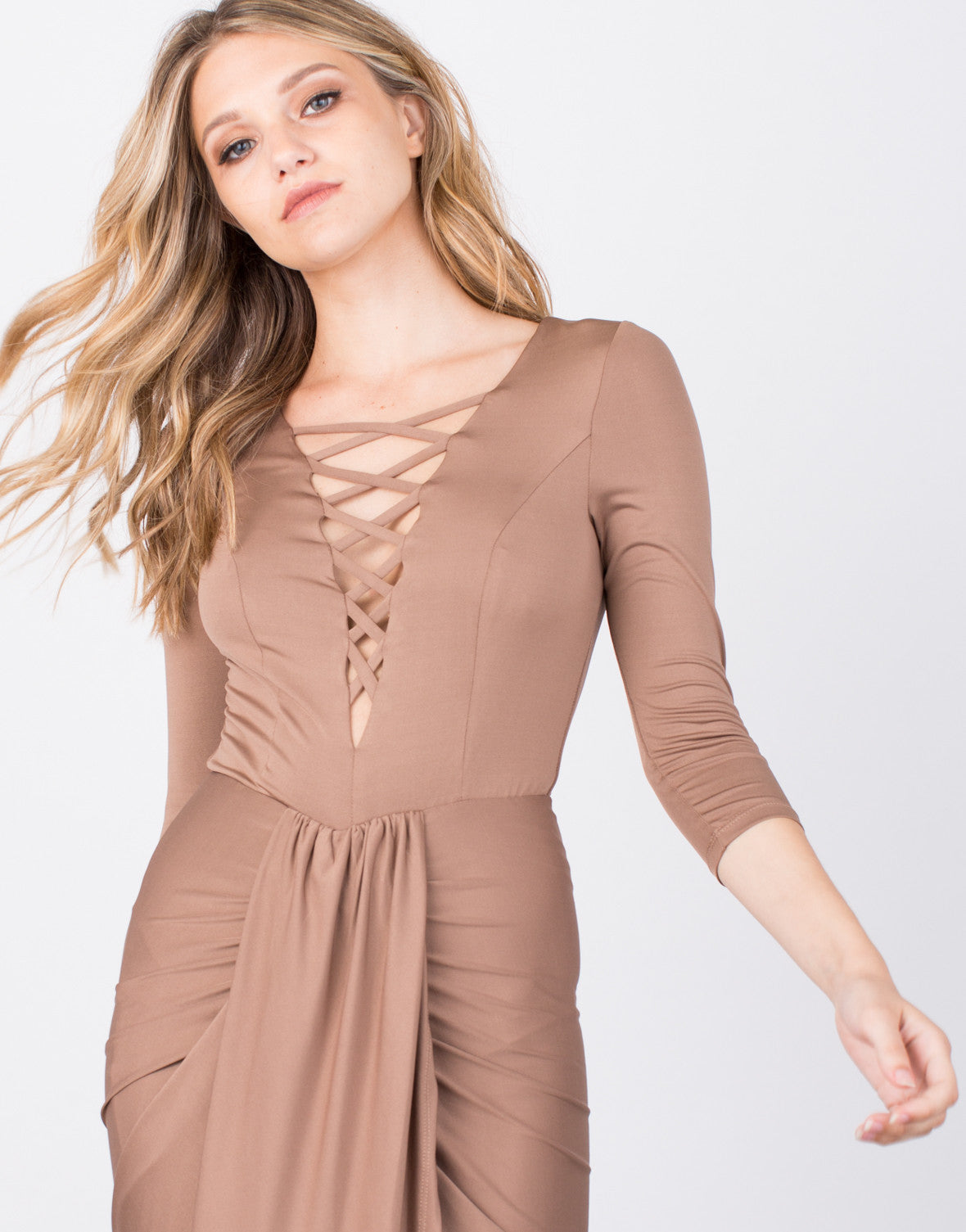 Detail of Slinky Lace-Up Wrap Dress