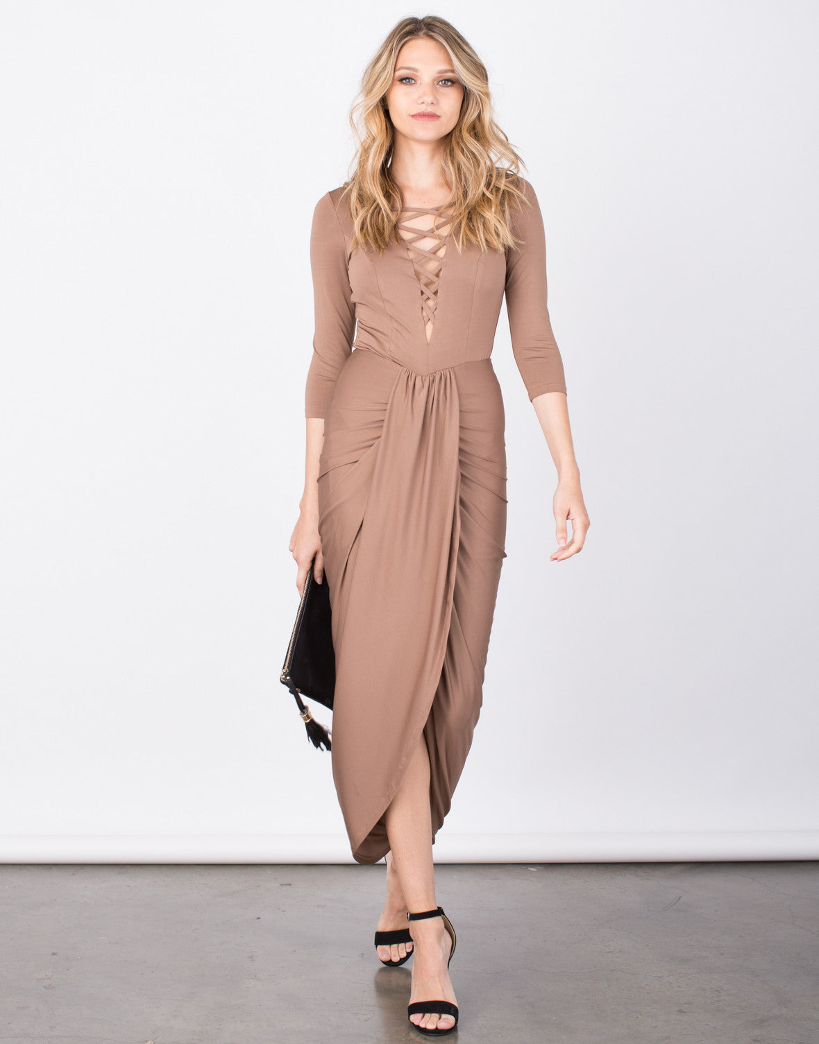 Front View of Slinky Lace-Up Wrap Dress